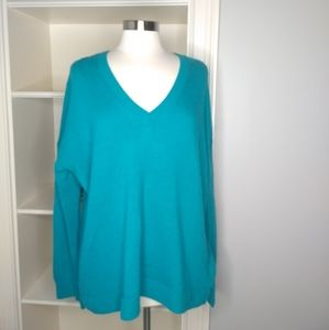 J. CREW Tunic Sweater Large V-Neck Teal